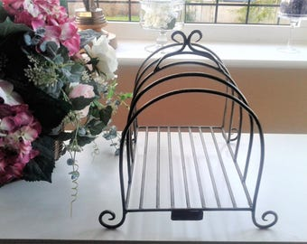 Vintage Farmhouse Style Metal Plate Rack - Storage and Display for larger plates & Metal Plate holder Bowl holder pottery wall holder pottery
