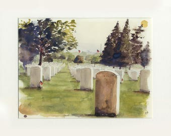 8.5x11 original watercolor of Arlington National Cemetery