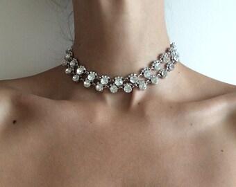 "Rhinestone Necklace Choker- ""Double Stacked"""