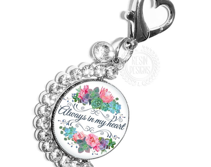 Rustic Wedding Bouquet Photo Charm, Personalized Bridal Bouquet Memorial Charm, Custom Wedding Brooch, Spinning Memory Charm