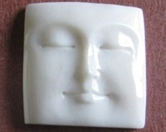 MS Square Carved Bone Face  Bali Closed Eyes Fair Trade