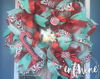 Bright Candy Cane Swirl Wreath, Christmas Holiday Deco Mesh Wreath, Mint Green & Red Front Door Wreath