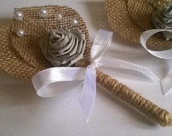 Burlap Groom's Boutonniere with  Flower, Rustic Wedding, White  Bow,