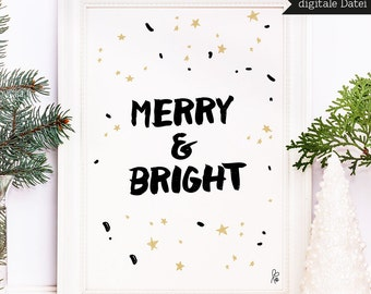 Printable Poster / Christmas Day / Merry & Bright / A4 / A3 / Christmas decoration / xmas / poster quote / digital / INSTANT DOWNLOAD