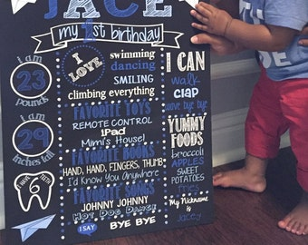 First Birthday Chalkboard Poster - Boy - Customized 1st Birthday Plane Chalk board - Custom Printable Sign - Blue Grey White - Paper plane