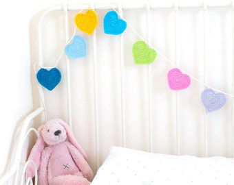 Crochet Heart Garland Bunting Pattern, kids handmade Craft Decoration tutorial, Home Decor, Nursery Room, INSTANT DOWNLOAD