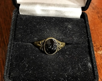 Black obsidian antique bronze ring