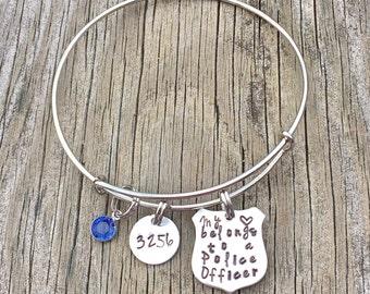 Police wife bracelet - Police wife jewelry - Police bracelet - Thin blue line - Police girlfriend