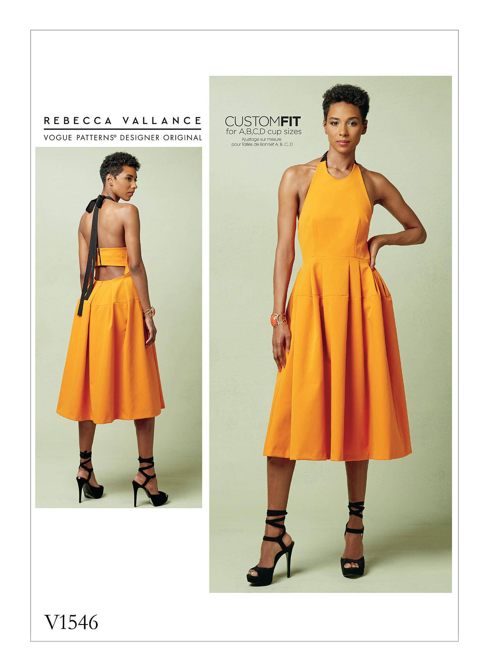 Sewing Pattern for Misses\' Lined PLEATED HALTER DRESS W/