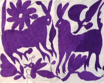 OTOMI, MEXICAN EMBROIDERY . . . New Hand Embroidery for Pillow Covers, Framing . . . Ethnic, Animals