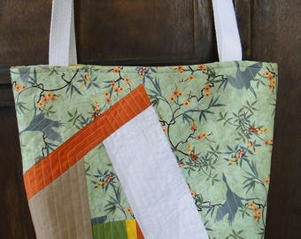Green, Orange, White & Yellow Improv Quilted Tote Bag