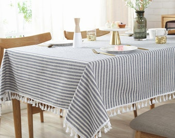 Elegant Stripes Tablecloth Cotton Linen Table Cloth Rectangluar Striped  Table Cloth With Tassel Dinner Tableclothes Tea