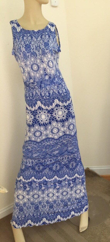 Extra Long Maxi Dress In Periwinkle Blue Matt Jersey Lace