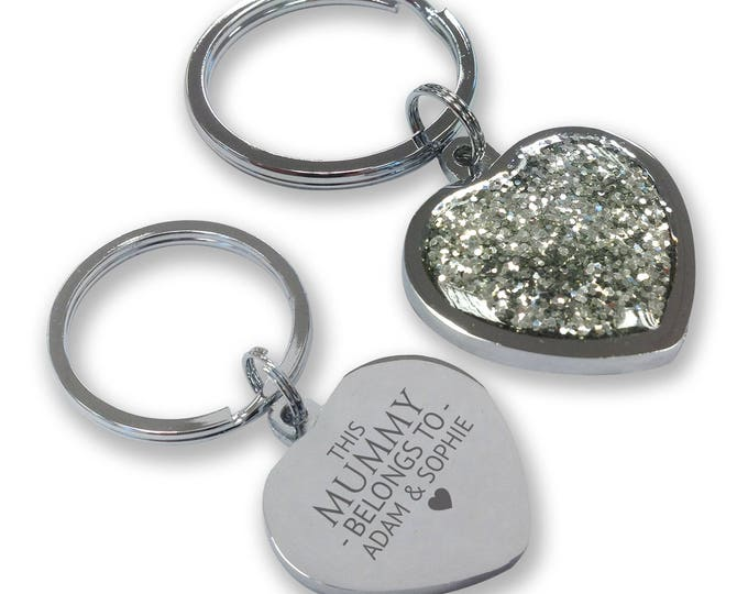 Personalised engraved This MUMMY belongs to keyring gift, glittery bling heart shaped keyring - GHE-B1