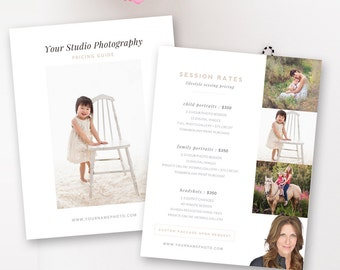 Lifestyle Photography Pricing Template, Price List, Pricing Guide Templates, Photographer Templates - INSTANT DOWNLOAD