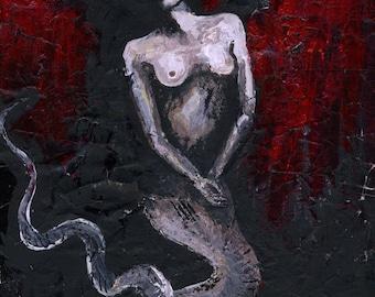 Melusina original painting - serpent witch snake goddess -  on paper A4 21x29,7 cm