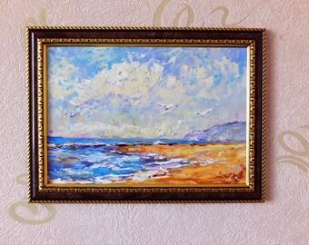 Seascape Painting Impasto Painting Cloud Painting Original Palette Knife Textured Modern Impressionism