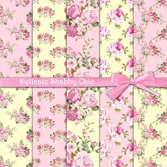 Roses Digital Paper Delicate Shabby Chic Pink With On Yellow And Background Floral Papers From