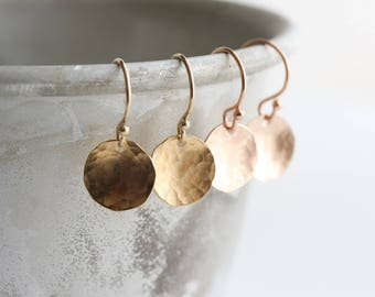 Gold disc earrings - rose gold or yellow gold hammered circle earrings - gold minimal earrings - gift for her - handmade jewelry