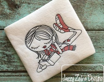 Swirly girl reading 3 sketch embroidery design - reading embroidery design - girl embroidery design - sketch embroidery design - books
