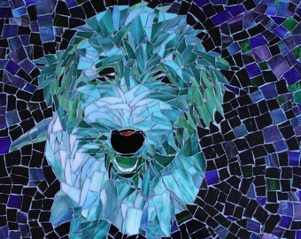 Blue Green Happiness Stained Glass Mosaic Pet Portrait