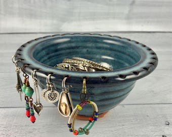 Jewelry Bowl - Earring Holder - Earring Bowl -Jewelry Organizer - Denim Blue Glaze - Earring Hanger - In Stock and Ready to Ship