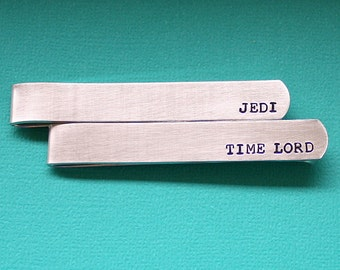Hand Stamped Tie Bar - Personalized Tie Clip - Custom Dad Gift - Time Lord - Jedi - Fathers Day Gift