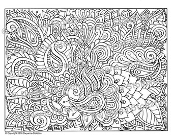 Paisley Doodle Coloring Page JPG