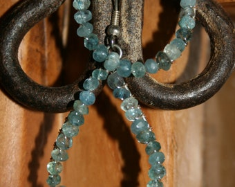 Aquamarine faceted rondelle earrings