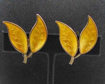 Vintage Signed D-A David Andersen Sterling Norway Golden Enamel Leaf Leaves Pair of Clip Earrings