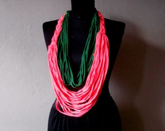 Jersey Scarf Necklace, Circle Scarf Fabric Necklace, Womens Accessories Noddle Scarf Braided tshirt necklace