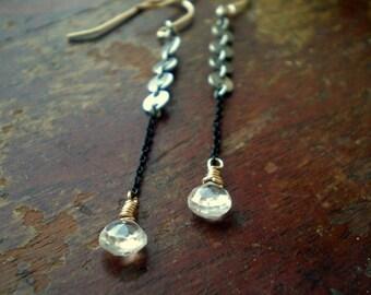 Drop Earrings - Mixed Metal Jewelry - Long Dangle Earrings - Zircon Teardrops - Zircon Zing - Black Chain Earrings - Sexy Earrings Gift Her