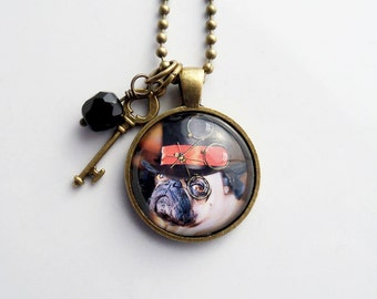 Steampunk Dog Necklace - Dog Pendant -  You Choose Bead and Charm - Fancy British Dog - Art Jewelry - Dog With Top Hat - Animal  Pet Jewelry