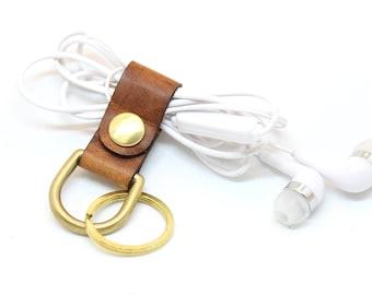 Keychain Cord Keeper, Headphone Tech Accessory, Leather organizer, accessory iphone, cord wrap, Cord Ties & Organizers, Cord Organizer
