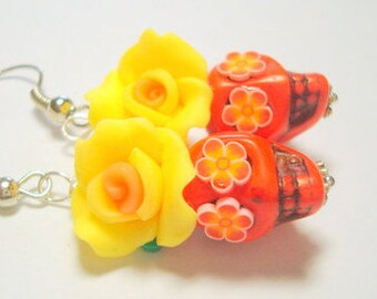 Fire Yellow and Orange Day of the Dead Sugar Skull and Rose Earrings