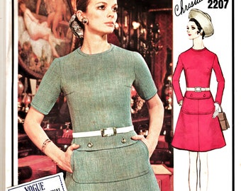 60's MOD Vogue Paris Original Pattern 2207 Christian Dior Low-Waisted Dress Sz 10 w LaBeL CUT Rare Designer Haute Couture Sewing Patterns