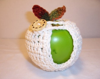 Handmade Crocheted Apple Cozy - Crochet Apple Cozy in Ecru with Fall Color Leaves