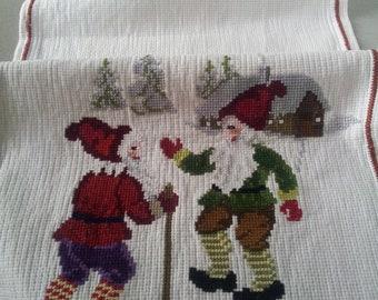 Sweden cross stitch embroidered tablerunner.Christmas decor.1980's