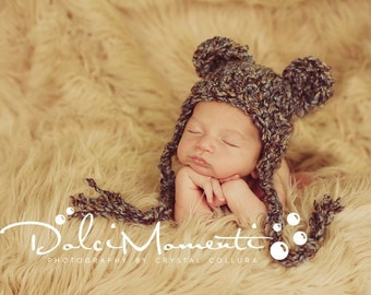 Baby Bear Hat with Earflaps - 0 to 3M - brown and blue