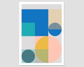 Colour block art, large geometric print, minimalist print, modern wall art, bold shape print, abstract geometric, gallery print