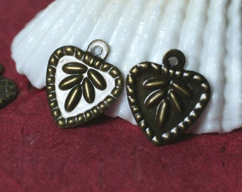 Antique brass heart charm 11x11mm, select your quantity (item ID ABHC11x11P16)