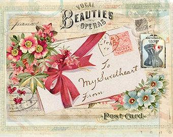 Postcard Decoupage Paper A4 Decoupage supplies Scrapbooking Paper Craft Projects Floral Patterns #404