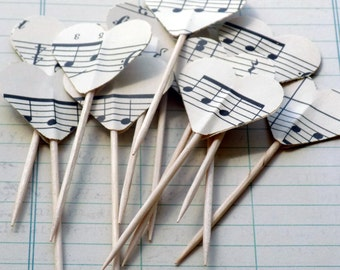 Vintage Sheet Music Food Pics Heart Cupcake Toppers