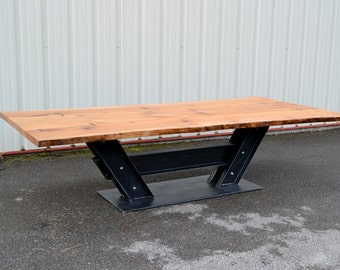 Live Edge Sycamore Conference Table With I Beam Base