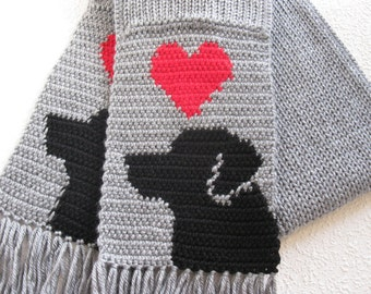 Labrador Retriever Scarf. Grey, knit and crochet scarf with red hearts and black labs. Knitted dog scarf. Black lab gift