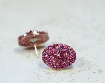 Magenta Glitter Oval Earrings, Sparkly Oval Faux Druzy Stud Earrings, Dark Pink