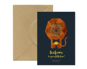 Welcome little lion - Big folded A5 Card