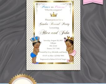 Printable Gender Reveal Invitation, Baby Reveal Invitation, Prince or Princess, Boy Or Girl Invite, Is It A Boy Or Girl - Digital File, DIY