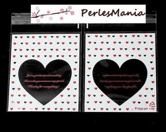 100 bags plastic Valentine heart, gift WRAPPING