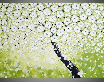 painting wall art acrylic painting tree painting flower painting large canvas art abstract painting green art 48 x24 MADE TO ORDER by ilonka